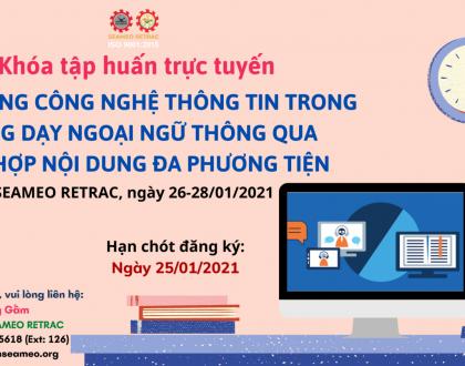"""Khóa tập huấn trực tuyến về """"Ứng dụng CNTT trong giảng dạy ngoại ngữ thông qua tích hợp nội dung đa phương tiện"""""""