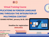 "Virtual training course on ""ICT Applications in  Foreign Language Teaching through the Integration of Multimedia Content"""