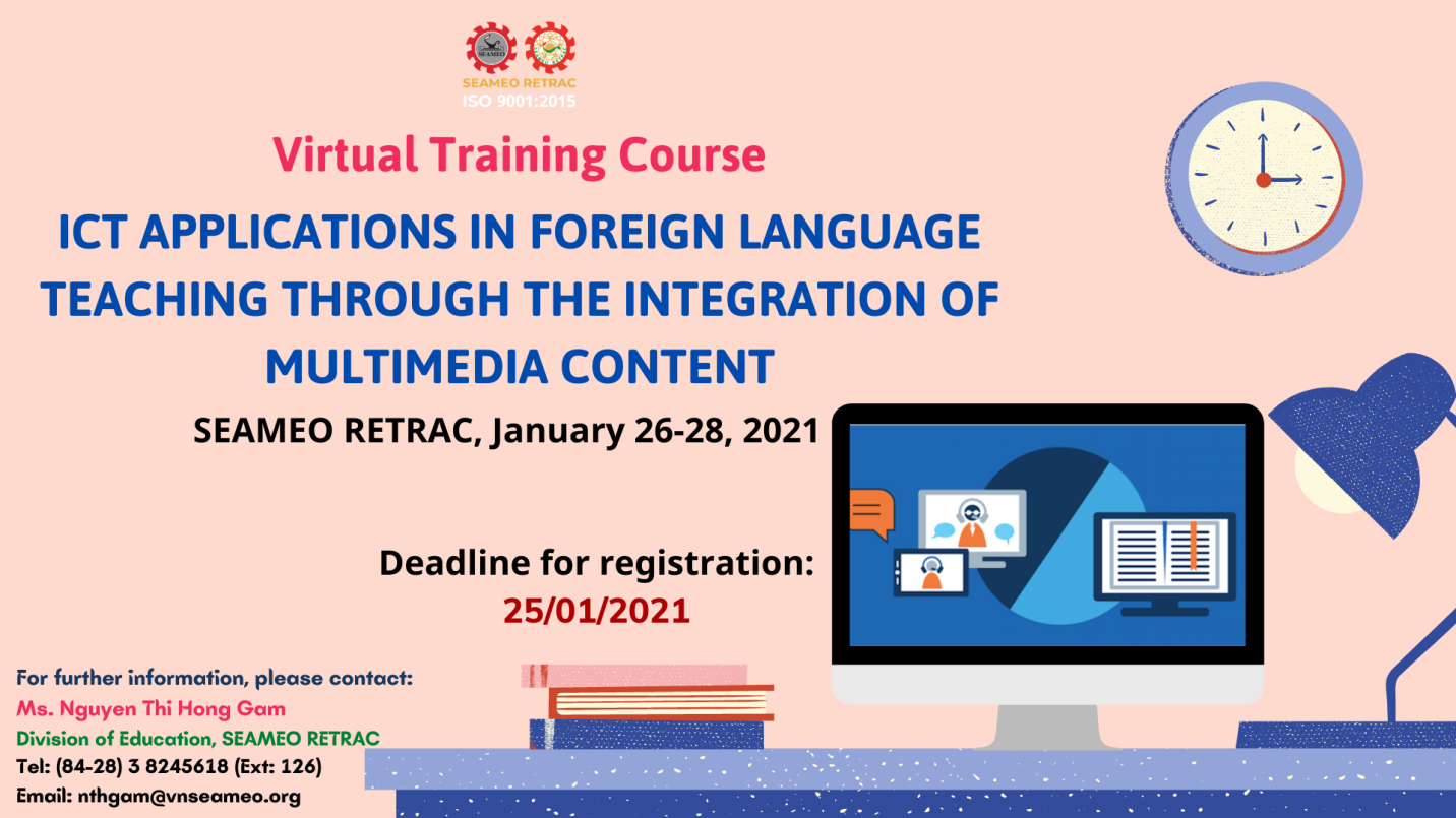 """Virtual training course on """"ICT Applications in  Foreign Language Teaching through the Integration of Multimedia Content"""""""